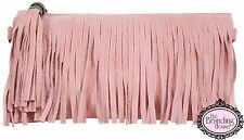 ladies light pink tassel fringe clutch evening bag