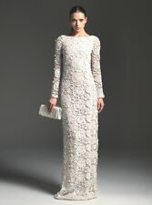 BLUMARINE Ivory Sequin Jeweled Lace Crochet Macrame Dress Gown 42 6