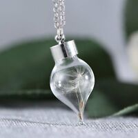Women Real Dandelion Seeds Lucky Glass Wish Bottle Pendant Necklace Lady Jewelry