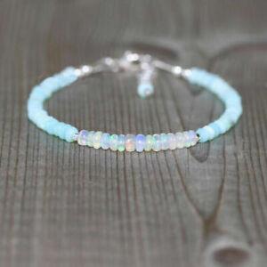"Natural A+++ Ethiopian Welo Opal+Peruvian Opal 3-4mm Beaded Rondelle Bracelet 7"""