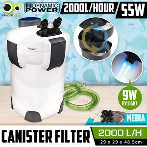Aquarium External Canister Filter Aqua Fish Tank UV Light +MEDIA KIT 2000L/H