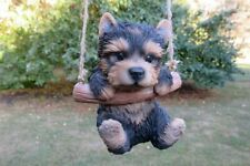 Yolrkshire Terrier Puppy Dog on a Swing Figurine Statue Resin Ornament New