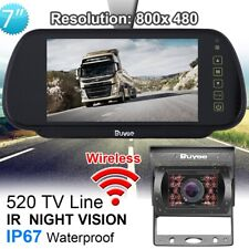 "Wireless Car Rear View Kit 7"" LCD Mirror Monitor +IR Reversing CCD Camera 12-24V"