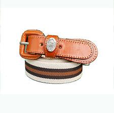 Men's Casual Fashion Belts Vintage Color Stripe Stretch Belt Brown Made In Korea