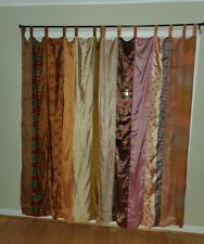 Indian Old Sari Curtain Drape Window Decor Multi Silk Saree Recycle Crafts