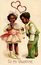 Valentines Day Fabric Block Vintage Image on Fabric Black Americana Clapsaddle