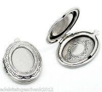 5 älter Silber Oval Medaillon Fassung Anhänger 34x24mm