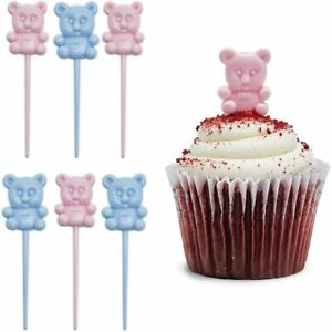 Teddy Bear Cupcake Toppers, Mini Gender Reveal Decorations (Pink, Blue, 100 Pcs)