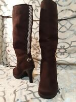CANDIES dark BROWN MICRO-SUEDE KNEE HIGH RIDING STYLE BOOTS HEELS WOMENS 7M
