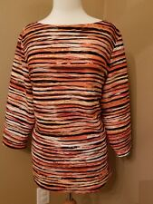 Allison Daley XL Women Blouse Shirt Textured Tiger Striped Boat Neck