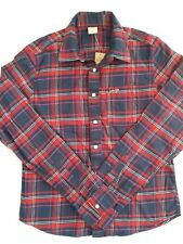 HOLLISTER BY ABERCROMBIE Mens Long SLeeves LS  Red Navy Plaid Shirt XL - NWT