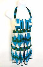 Tibi Sun Dress Size S Halter Empire Waist Geo Print Turquoise Green Ivory Short