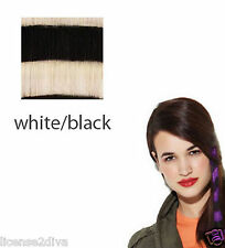"""CLIP IN FAUX FEATHERS! WHITE/BLACK ZEBRA! 16"""" INCLUDES 2 PIECES! BY: HAIRUWEAR!"""