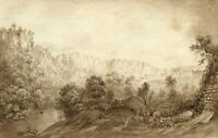 River Derwent & High Tor, Matlock – Mid-19th-century watercolour painting