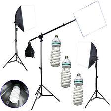 "Studio Lighting Kit 3x 105w 5500K Cfl w/ 20"" Soft Boxes Boom Stand & Lamp Stands"