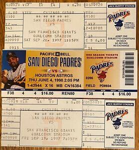 3 san diego padres TICKETS 1997 V GIANTS 1998 V HOUSTON selling many others