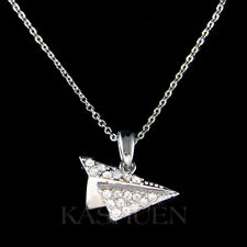 Paper Airplane made with Swarovski Crystal Flight Crew Attendants Pilot Necklace