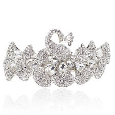 Holy White Rhinestone Crystal Peacock Barrette Gold Tone Hair Clip Party Gift