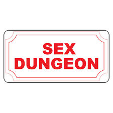 Sex Dungeon Red Retro Vintage Style Metal Sign - 8 In X 12 In With Holes
