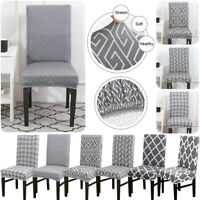 1/4/6x Stretch Dining Chair Cover Grey Slipcover Removable Wedding Banquet Decor