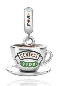 🦋💜 STERLING SILVER 925 FRIENDS CENTRAL PERK COFFEE CUP CHARM & GIFT POUCH - TV