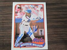 1989 Topps # 545 Mookie Wilson Autograph / Signed card New York Mets