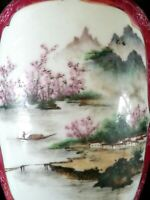 Antique Japanese hand painted porcelain vase, artist signed 10.5 inches