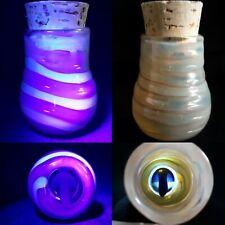 GHOST Mushroom Stash Jar UV Reactive Glass Art Marble Hand Made USA