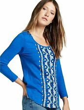 Lucky Brand - Womens XS -  NWD READ - Blue Geo Embroidered Cotton Tee