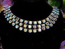 Vintage 3 Strand Open Back Chaton Cut Aurora Borealis Crystal Glass Necklace