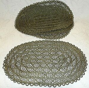 """Woven Seagrass Straw Green Placemats Set Lot 4 Rustic Boho Patio Decor 19""""x12"""""""