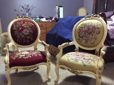 Pair Of French Louis XV Victorian Style Needlepoint Tapestry Fireside Armchairs