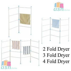 New Laundry Airer 2, 3, 4, Fold Clothes Horse Drier Indoor Drying Rack Folding