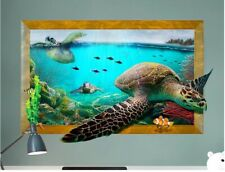 Wall decal Sticker 3D Window Turtle living room Bathroom Lavatory Toilet Baby