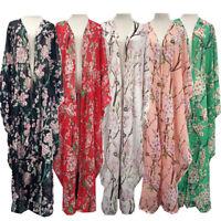 New Women Flower Chiffon Long Cardigan Islamic Kaftan Abaya Maxi Cocktail Dress