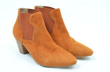 SHOE THE BEAR anthropologie orange genuine suede chelsea ankle boots 36 3