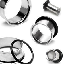 """Pair Surgical Stainless Steel Single Flare Flesh Tunnels 12g - 2"""" 2mm - 51mm E1"""