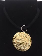 """Henry VIII Half Angel Coin WC47 Gold Pewter On a 18"""" Black Cord Necklace"""