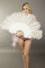 "primary Burlesque 21""x 38"" white Marabou Ostrich Feather fan with carrying case"