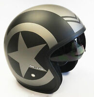 VIPER RS-V06 RS-06 OPEN FACE SCOOTER MOTORCYCLE RETRO HELMET MOD JET GREY STAR