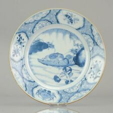 Antique Chinese Porcelain Blue and White Plate Kangxi Fishermen Crabs Fi...