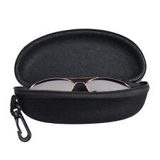 New Portable Zipper Eye Glasses Sunglasses Hard Clam Case Bag Protect Box Black