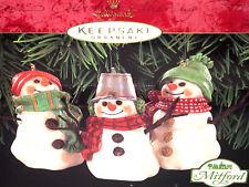 HALLMARK Keepsake 1999 THE SNOWMEN OF MITFORD Set of 3 CHRISTMAS ORNAMENT VTG