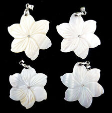 4pcs Beautiful  natural Fresh water shell carved  Flower  pendant bead BC400