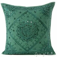 """Eyes of India - 16"""" Emerald Teal Mirror Embroidered Pillow Colorful Decorative"""