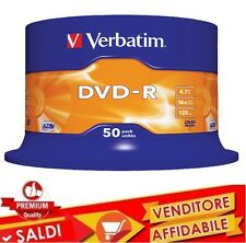 50 DVD -R VERBATIM 16X Advanced Azo dvdr 4.7 GB ORIGINALI VERGINI VUOTI 100%