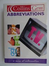 Collins Gem Abbreviations Dictionary. Paperback.Postcodes/Text/E Numbers/Car Reg