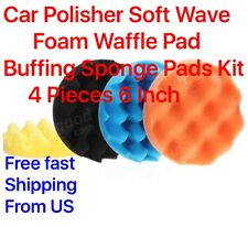 Car Polisher Soft Wave Foam Waffle Pad Buffing Sponge Pads Kit 4 Pieces 6 Inch