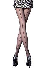 Collant Noir Sexy Femme à couture - Fiore - Voile 20 deniers