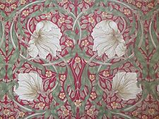 WILLIAM MORRIS CURTAIN FABRIC Pimpernel 1.2 METRES RED & THYME LINEN BLEND